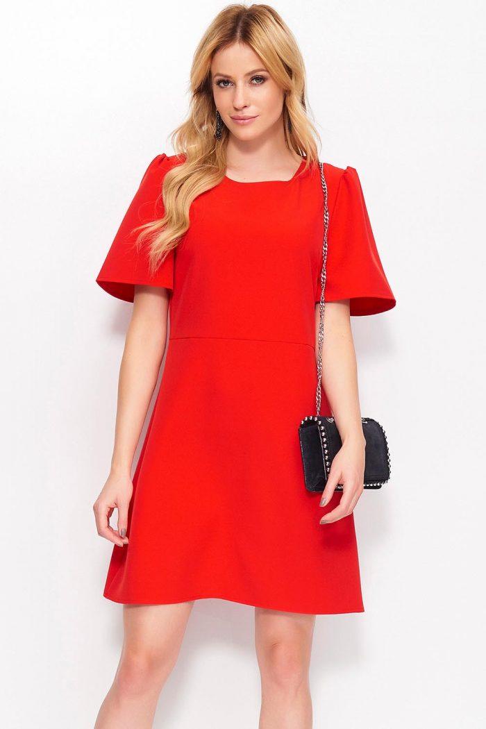 Rochie elegantă Makadamia roşu