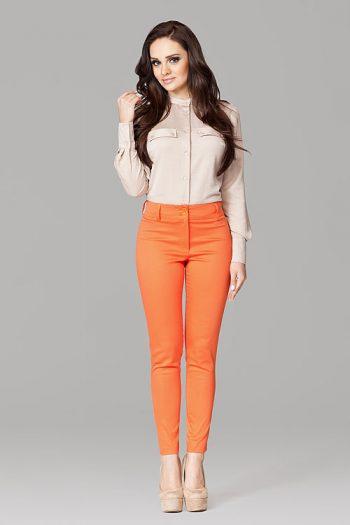 Pantaloni de damă Figl portocaliu