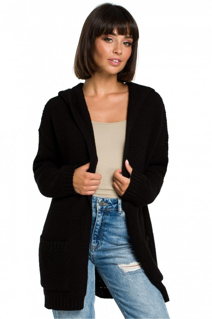 Cardigan BE Knit negru