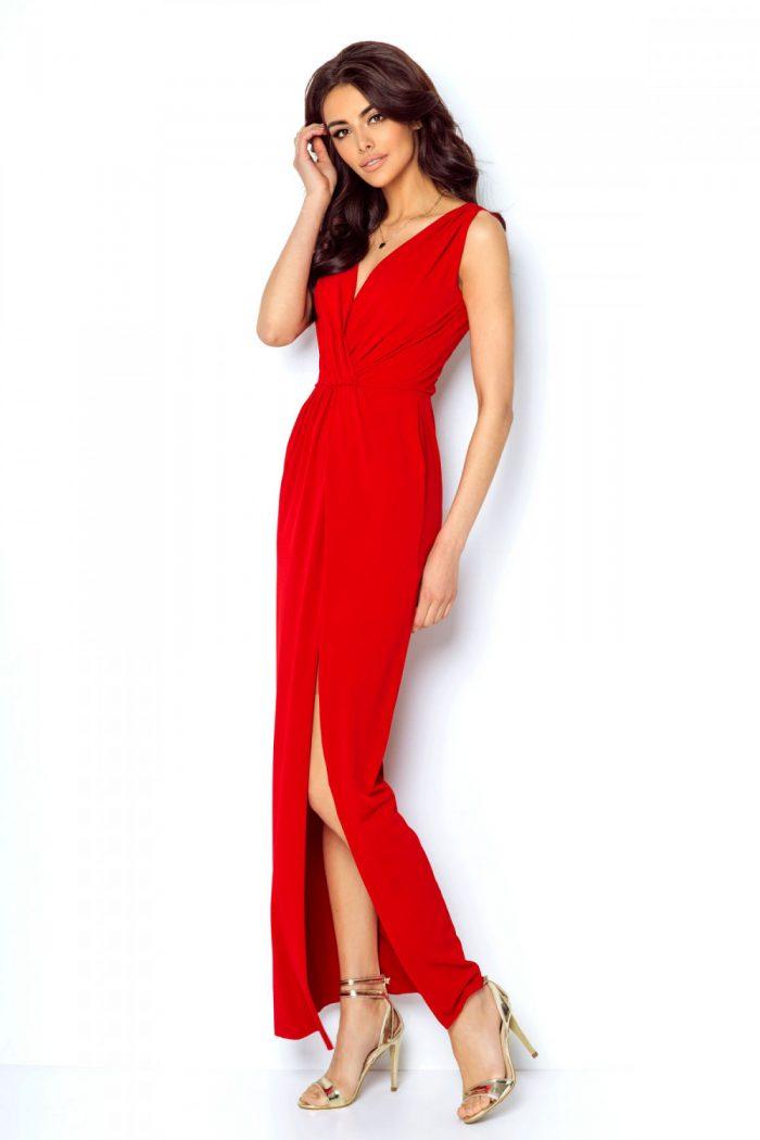 Rochie lungă IVON roşu