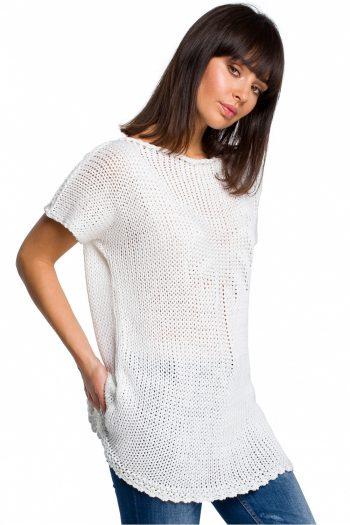 Pulover cu mânecă scurtă BE Knit alb
