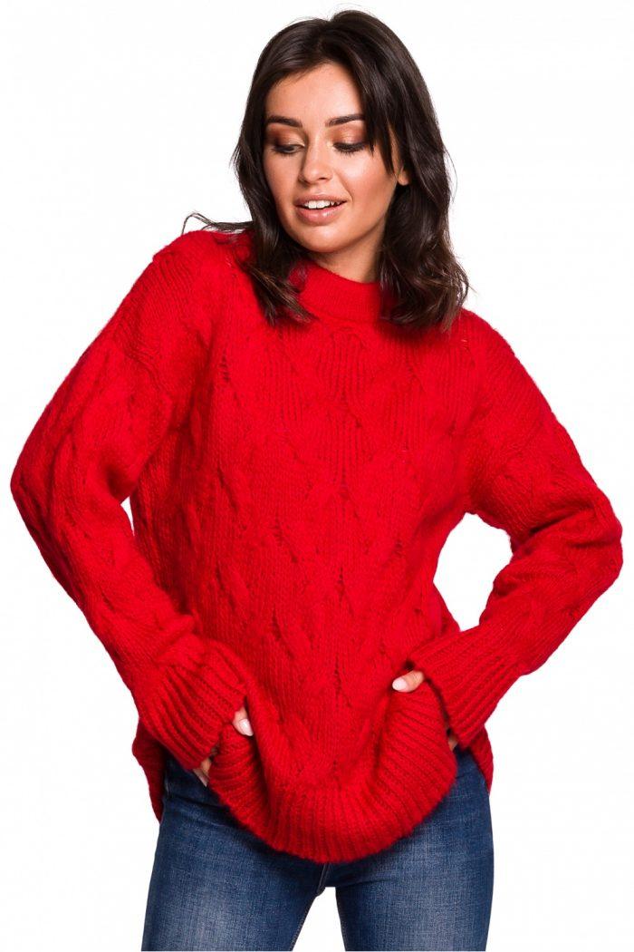 Pulover BE Knit roşu
